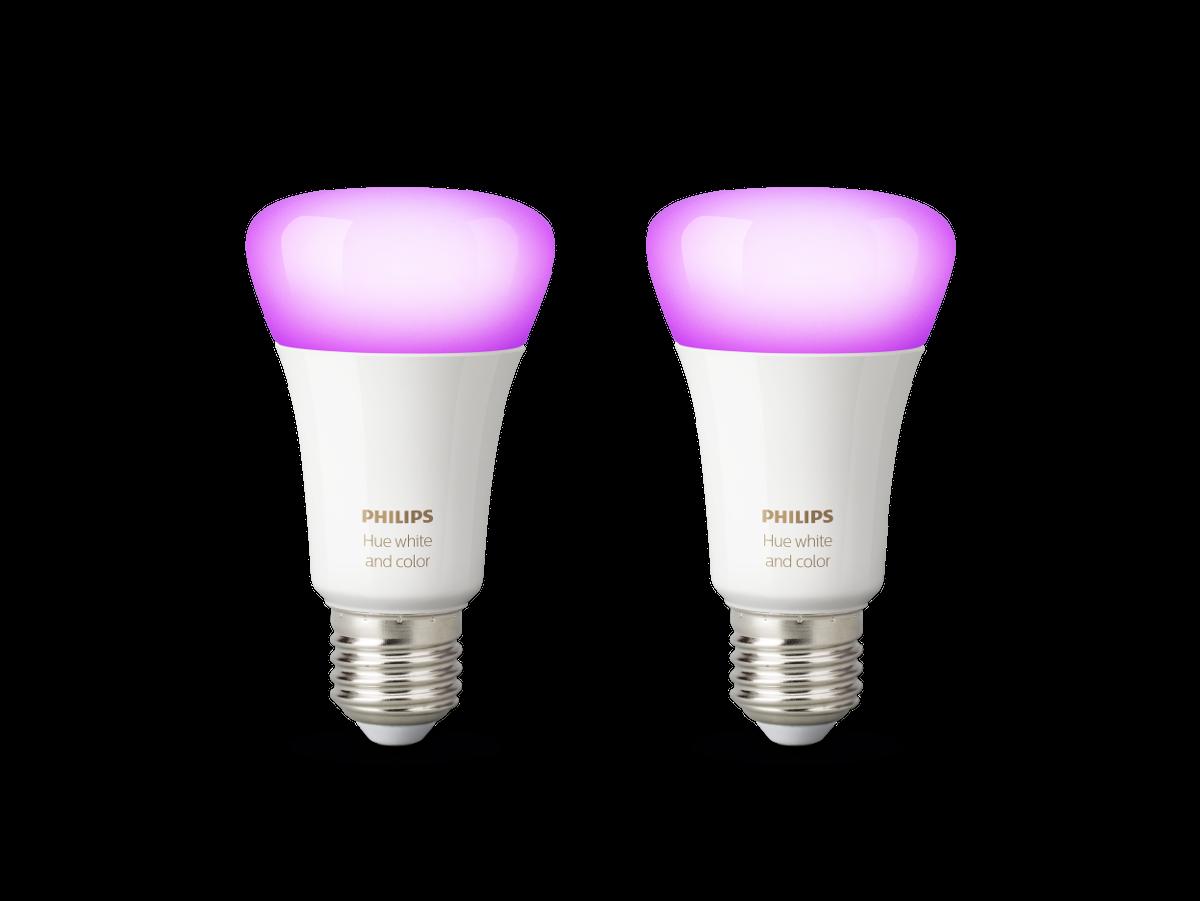 Philips Hue White and Color Ambiance LED E27 Doppelpack | 2 x RGBW LED Leuchtmittel im Set
