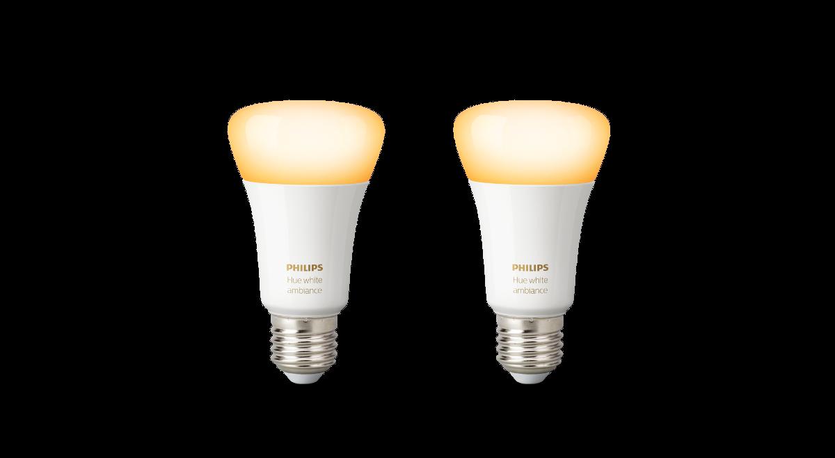 Philips Hue White Ambiance LED E27 Doppelpack 9,5 W | 2 x LED Leuchtmittel im Set